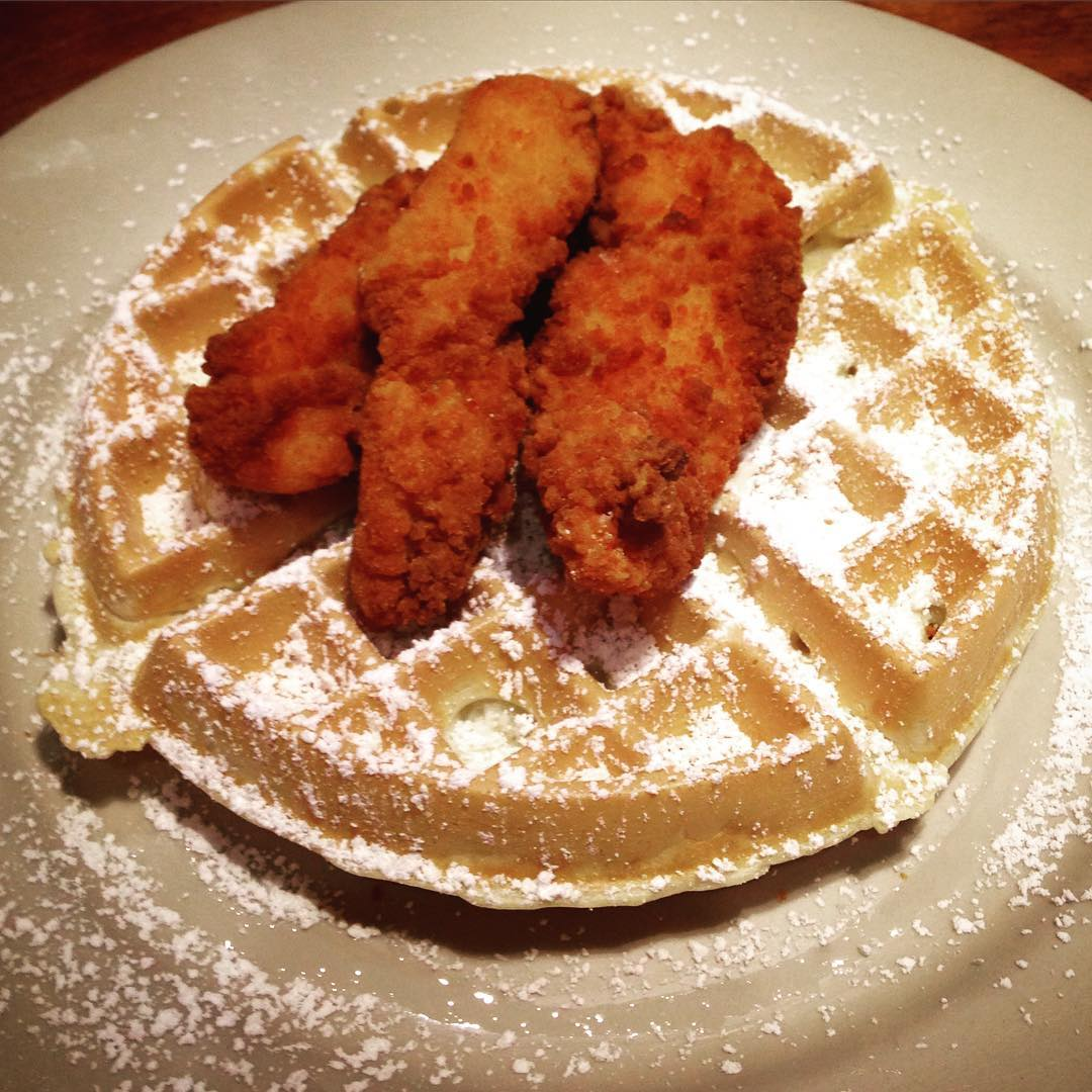 Breaking my food pic rule for chicken and waffles! 1st time trying it and yuuuuummmmmm!!!!