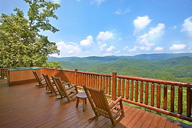 Wrap around deck with views from 'Above it All' perfect for lofty family getaway