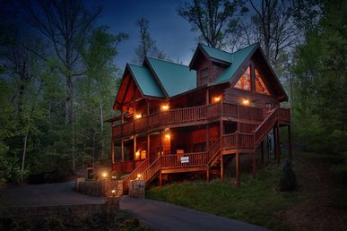 Smoky Mountain Getaway a five bedroom cabin with a theater room and Juke Box.
