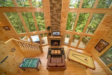 2 Bedroom Cabin with 28 Foot Wall of Glass Great Room and 18 Foot Rain Shower