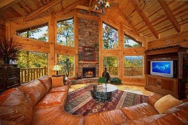 Enjoy mountain views in this huge 4 bedroom true log cabin in Gatlinburg