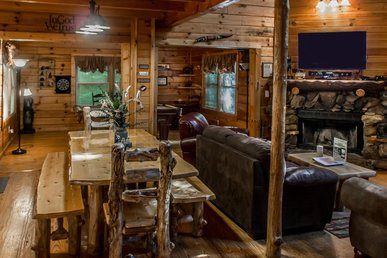 Large wheelchair accessible log cabin secluded in pines for your peaceful family escape