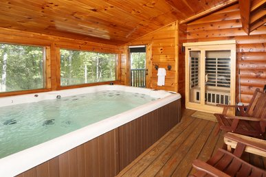 Skinny Dippin is a cozy 1 bedroom cabin with a swim spa right in cabin.