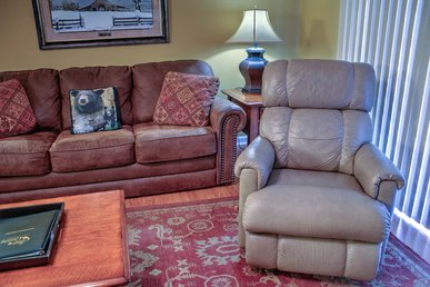 Covered Parking • 2 Leather Recliners • Sleeps 6 • Riverside
