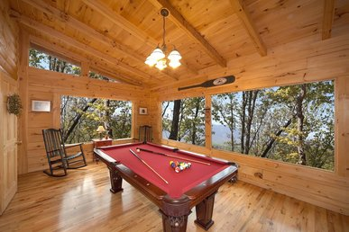 Wheelchair accessible cabin with fireplace, hot tub, pool table, & free passes to local attractions