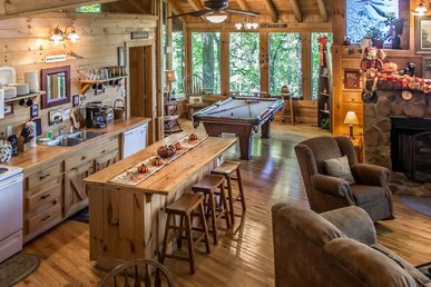 Pet-friendly cabin with hot tub, fireplace, jetted tub, & free passes to local attractions.