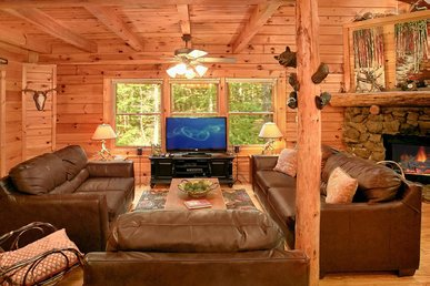 Pet-friendly cabin w/wrap around porch, hot tub, fire-pit, and free passes to local attractions