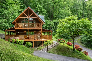 Unique cabin with wrap-around deck, hot tub, pool access and game room