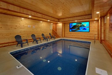 Indoor Pool Cabin With Theater Room, Fire Pit, Game Room