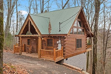 1 Bedroom, 1 Bath, Custom Built, Semi-secluded Luxury Log Cabin For 6.