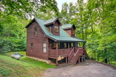 1 Bedroom Gatlinburg Cabin With Fishing Pond Access And Pool Table In Loft.