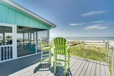 Charming Gulf-Front Beach House Private Boardwalk, Screened Porch and Expansive Views
