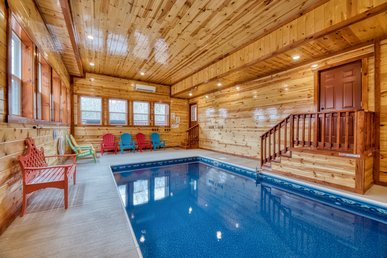 Oversized Luxury Log Cabin with a Private Indoor Pool, Home Theater and Game Room