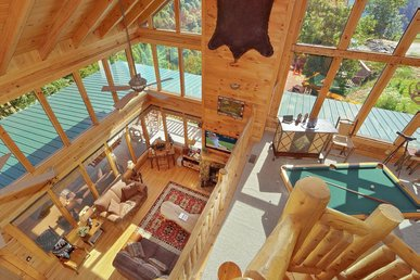 Spacious cabin with endless views, game room,  and hot tub.