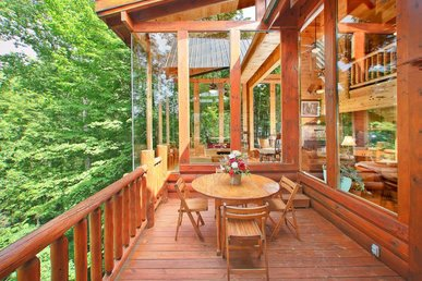 Pet-friendly cabin with fireplace, hot tub, and seasonal pool access