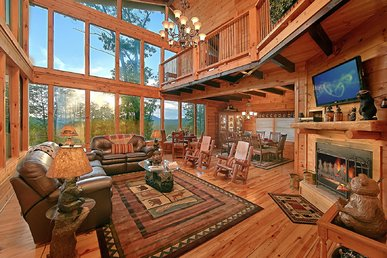 Palatial cabin with expansive decks, stunning views, hot tub and game room