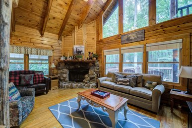 Charming cabin with wood-burning fireplace, hot tub, and pool access