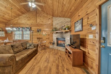 Pet-friendly cabin, close to town, with hot tub