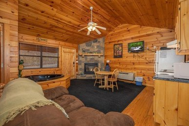 A Value Studio Cabin For Two With A Heart-shaped Jacuzzi And Hot Tub.