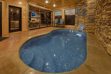 Luxury Cabin With Private Heated Indoor Pool, Theater Room, Outdoor Living!