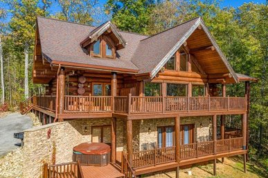 A 5 Bedroom, 5 Bath, Luxury Plus Cabin For 19 With Game Room & Incredible Views.